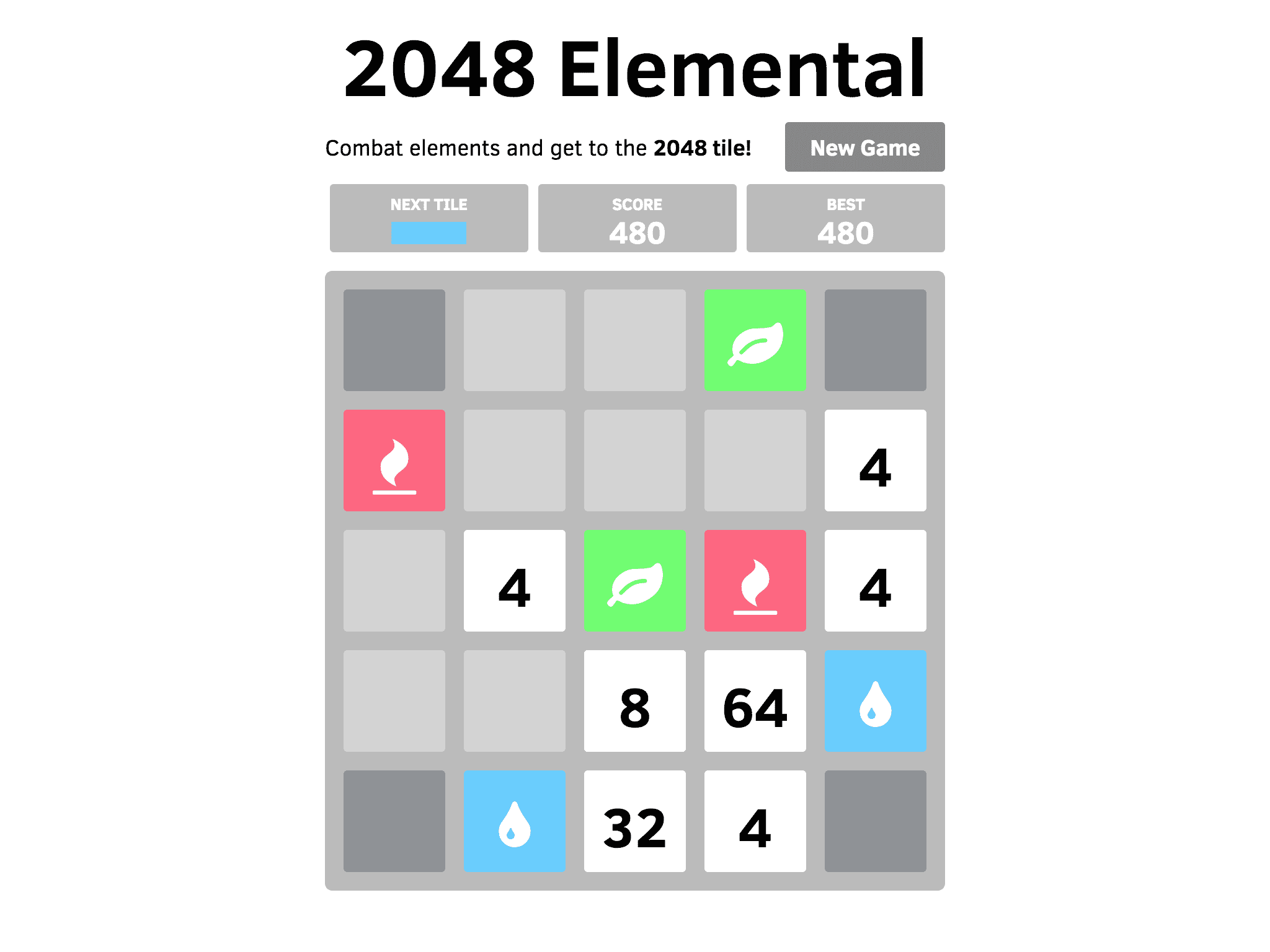 Elemental 2048 screenshot